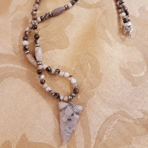 Arrow Head Beaded Stone Necklace - Unisex